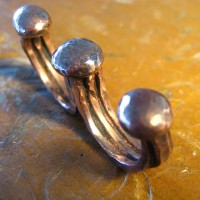 Copper Hammered Double Ring