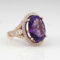 Custom Amethyst Halo in 14k rose gold