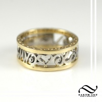 Two Tone gold Initials Band