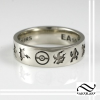 Custom 10k White gold Pokemon Wedding Band