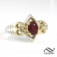 Celtic Hearts Knotwork Ruby Ring