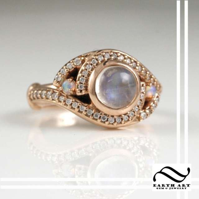 Moonstone and Opal in Rose Gold