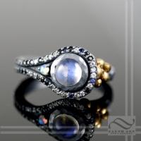 Oxidized silver and gold unique Moonstone halo