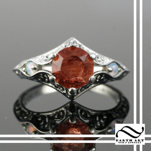 Art Deco Sunstone Ring with Opal
