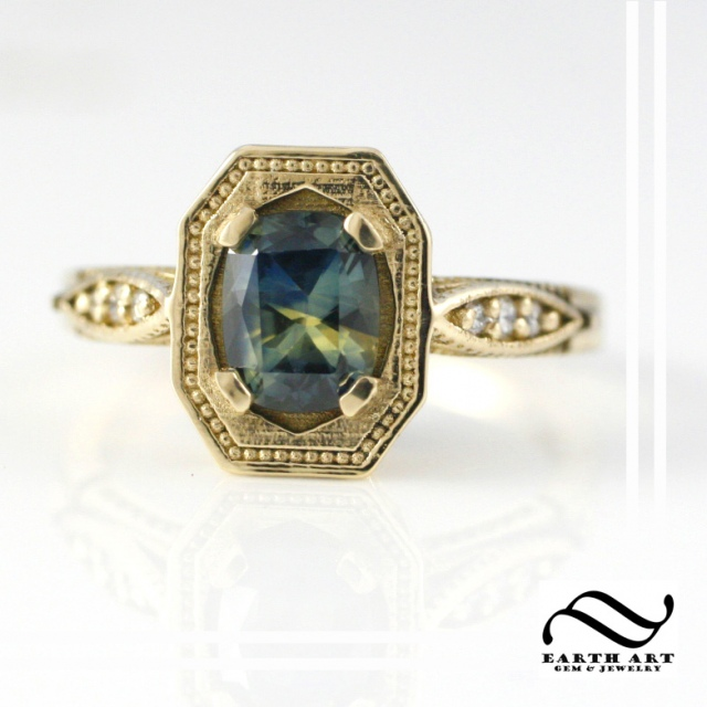 Vintage style ring with sapphire and diamonds