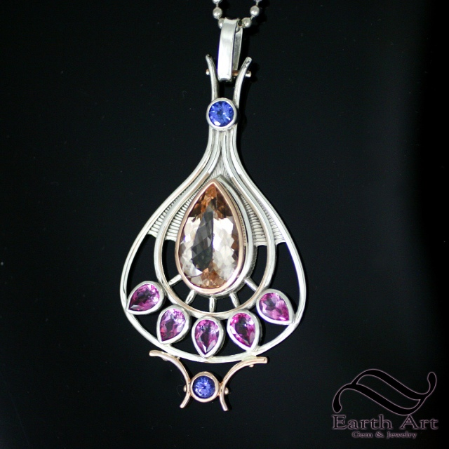 At Deco Pendant with Morganite