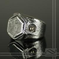 Meteorite and Diamond Signet Ring
