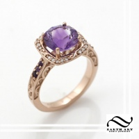 Sculpted 14k rose gold and Amethyt Ring