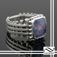 Studded Opal Triplet Ring
