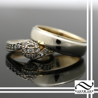 Recycled Gold & Diamond Wedding Set