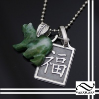 Jade bear and Kenji Pendant