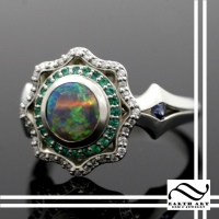 Double Opal Halo in 14k
