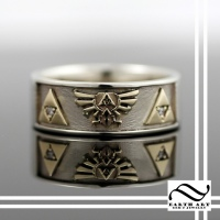 Gold Hyrule and Triforce Wedding Band
