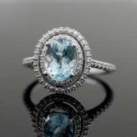 Paraiba tourmaline Double Halo Ring