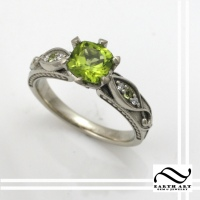 Vintage style Peridot Engagement ring