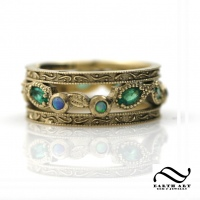 Opal and Emerald Eternity Band