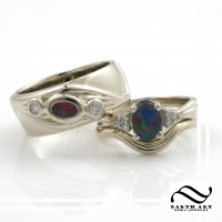 Custom Opal Wedding Ring Set in 14k