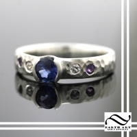 Satin Hammered Ring with Sapphire & Amethyst