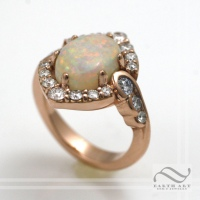 14k rose gold Opal Halo and Swirls