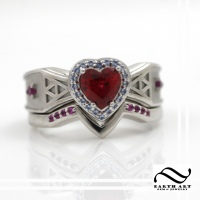 Zelda Heart Container Ring Matching Wedding Band