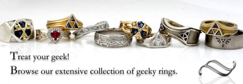 A large selection of geeky themed engagement and wedding rings
